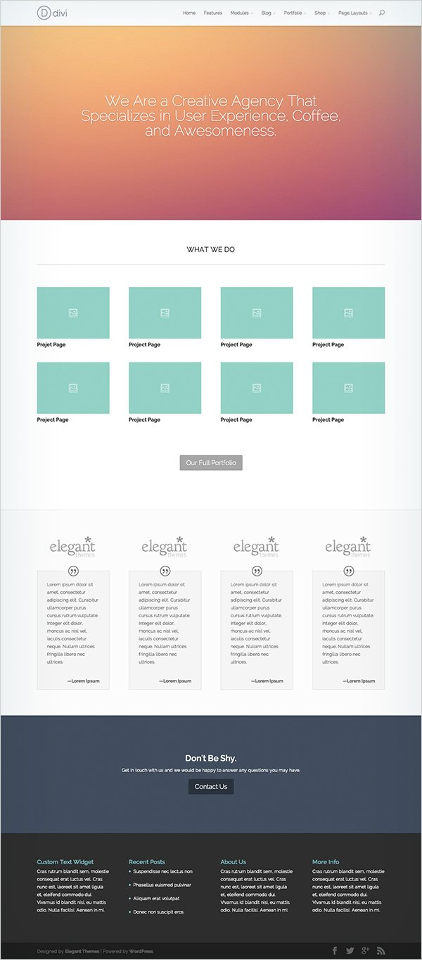 DIVI Layout Enterprise Businesses