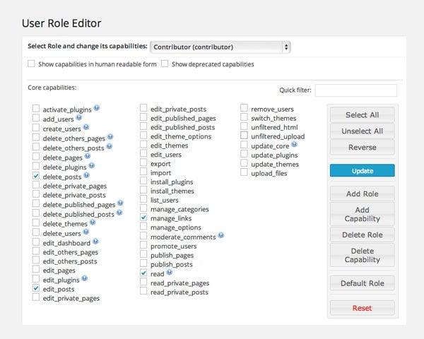 User Role Core Capabilities