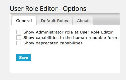 User Role Editor General Options