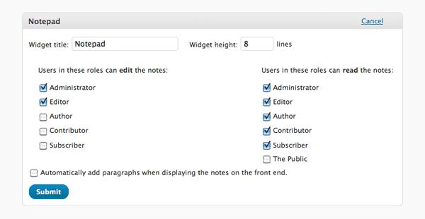 Dashboard Notepad