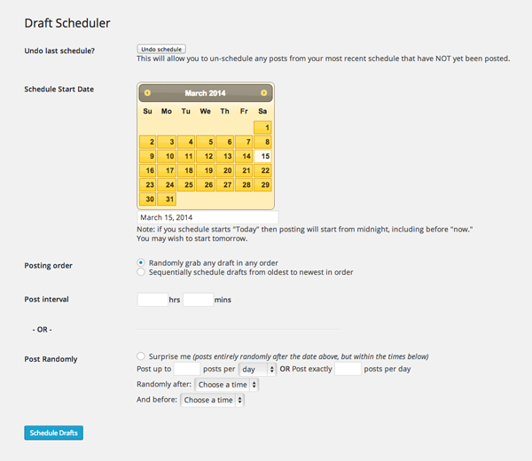 Drafts Scheduler
