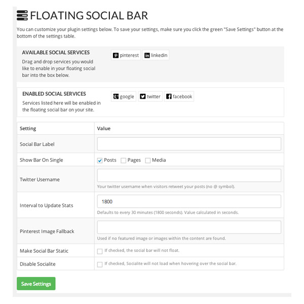 Floating Social Bar Settings