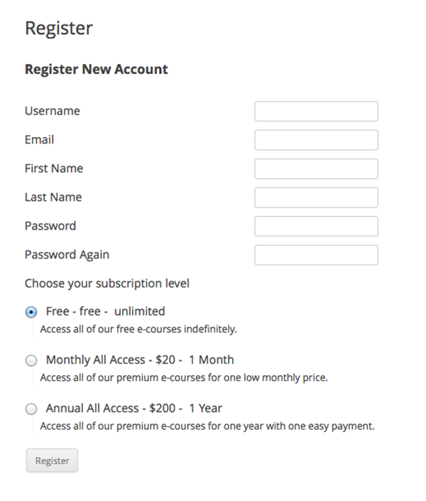 WordPress-LMS-Restrict-Pro-Registration-Front