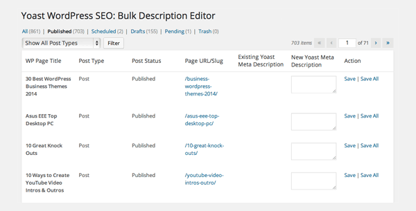 WordPress SEO Bulk Description Editor