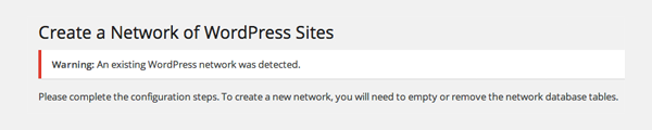 Existing Network Detected
