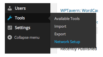Network Setup Menu Link