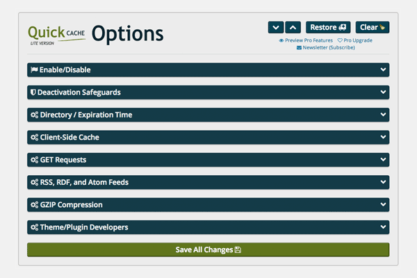Quick Cache Options