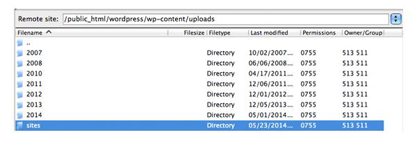 Sites Upload Folder