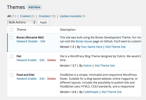 Themes Page