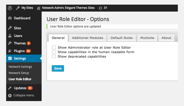 User Role Editor Options