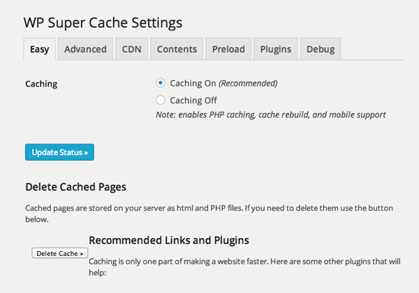 WP Super Cache Easy Settings