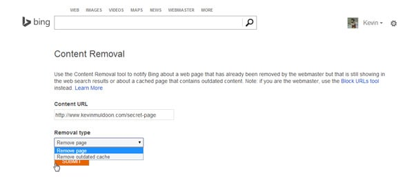 Bing Content Removal Tool