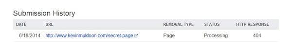 Bing Removal History