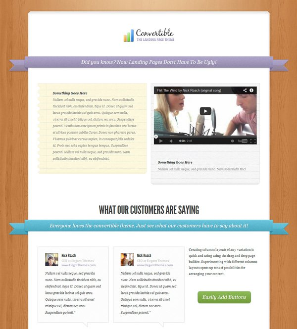 Convertible Landing Page WordPress Theme