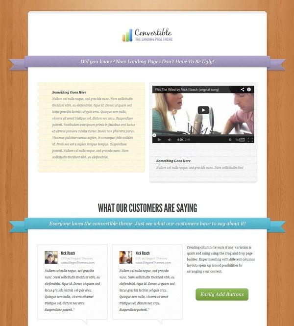 Convertible Landing Page WordPress Theme