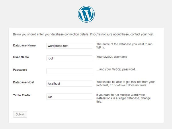 Enter your WordPress connection details