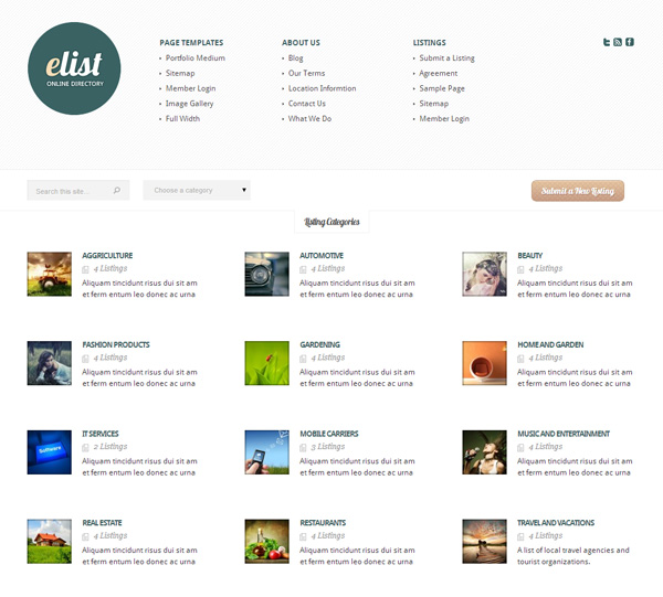 eList WordPress Directory Theme
