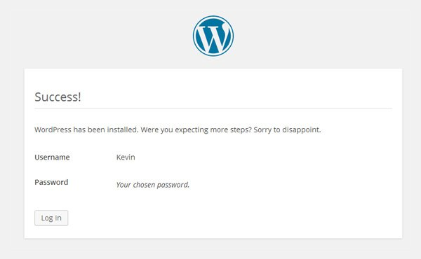 You have now installed WordPress