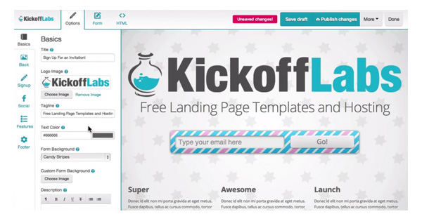 KickoffLabs Landing Pages
