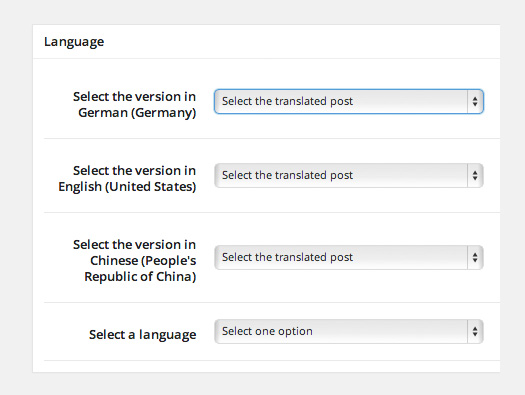 User Language Switch Language Options