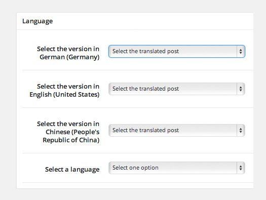 User Language Switch Language Options