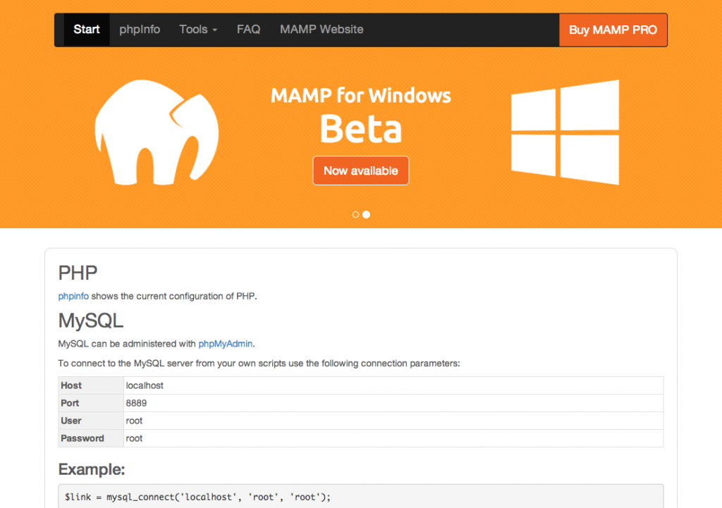 Our MAMP server is successfully live.
