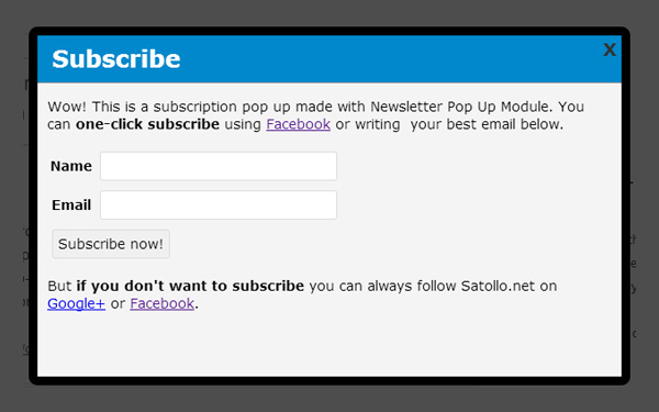 Popup Extension for Newsletter