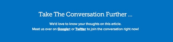 Copyblogger encourages users to post comments on Twitter and Google+