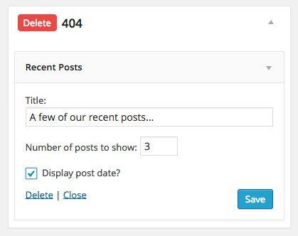 Configuring my recent posts widget