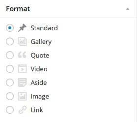 You can choose from a list of post formats in the post editor