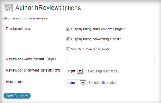 Example of plugin options in the back end
