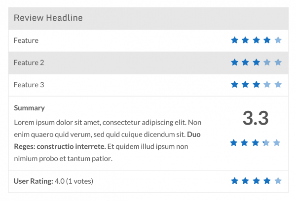 Example of Star Rating and WP Review final output