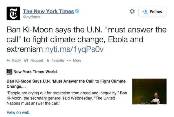 An example Twitter Card from the New York Times