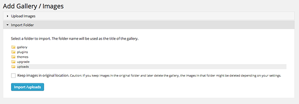 NextGEN-Add-Gallery-Import-Folder