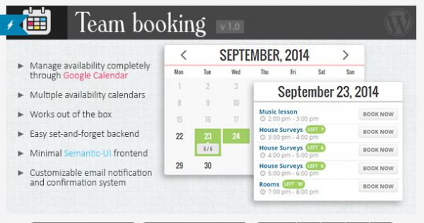 Team Booking Plugin on CodeCanyon