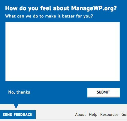 The feedback box on ManageWP