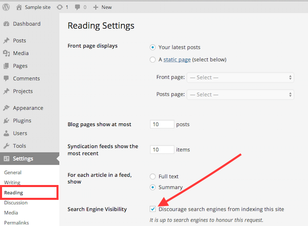 Hide WordPress blog from search engines settings