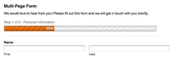 An example Multi-page form