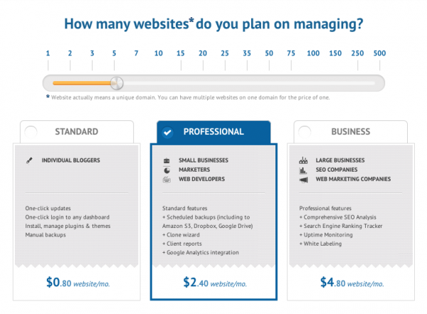 Pricing Packages For ManageWP
