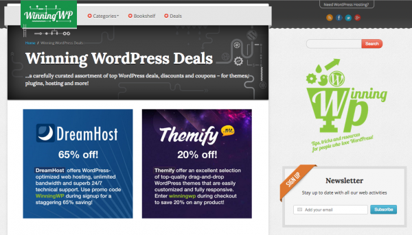 Hosting and WordPress Coupons on WinningWP