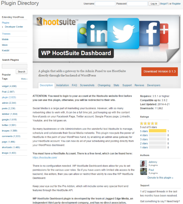 The WP Hootsuite Dashboard Plugin