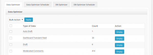 WP Clean Up Optimizer Dashboard