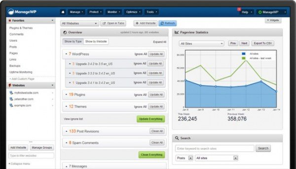 ManageWP Dashboard Screenshot