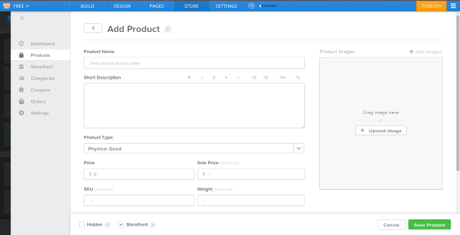 weebly add product