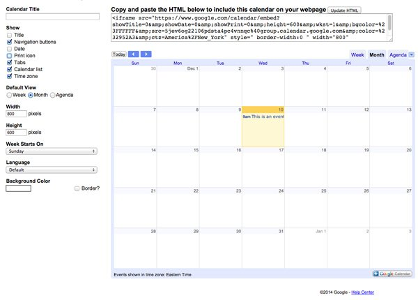 Embed builder in Google Calendar