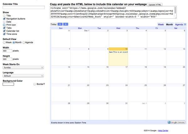 Embed builder in Google Calendar