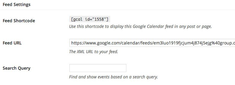 Google Calendar Events feed