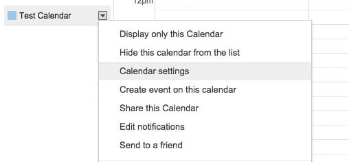 Google Calendar settings box