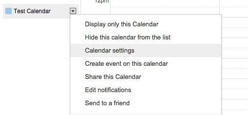 Google Calendar settings box