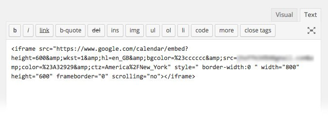 Google embed code in post editor